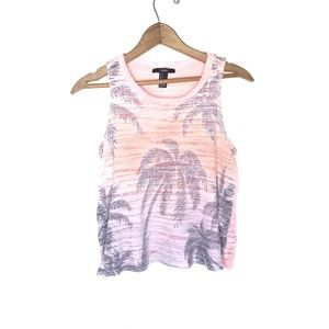 Forever 21 Beachy Pink Palm Tree Tank Top